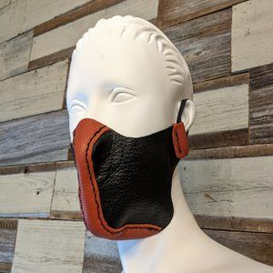 handcrafted Accessories - Red And Black Hand Stitched Leather Face Mask NWT